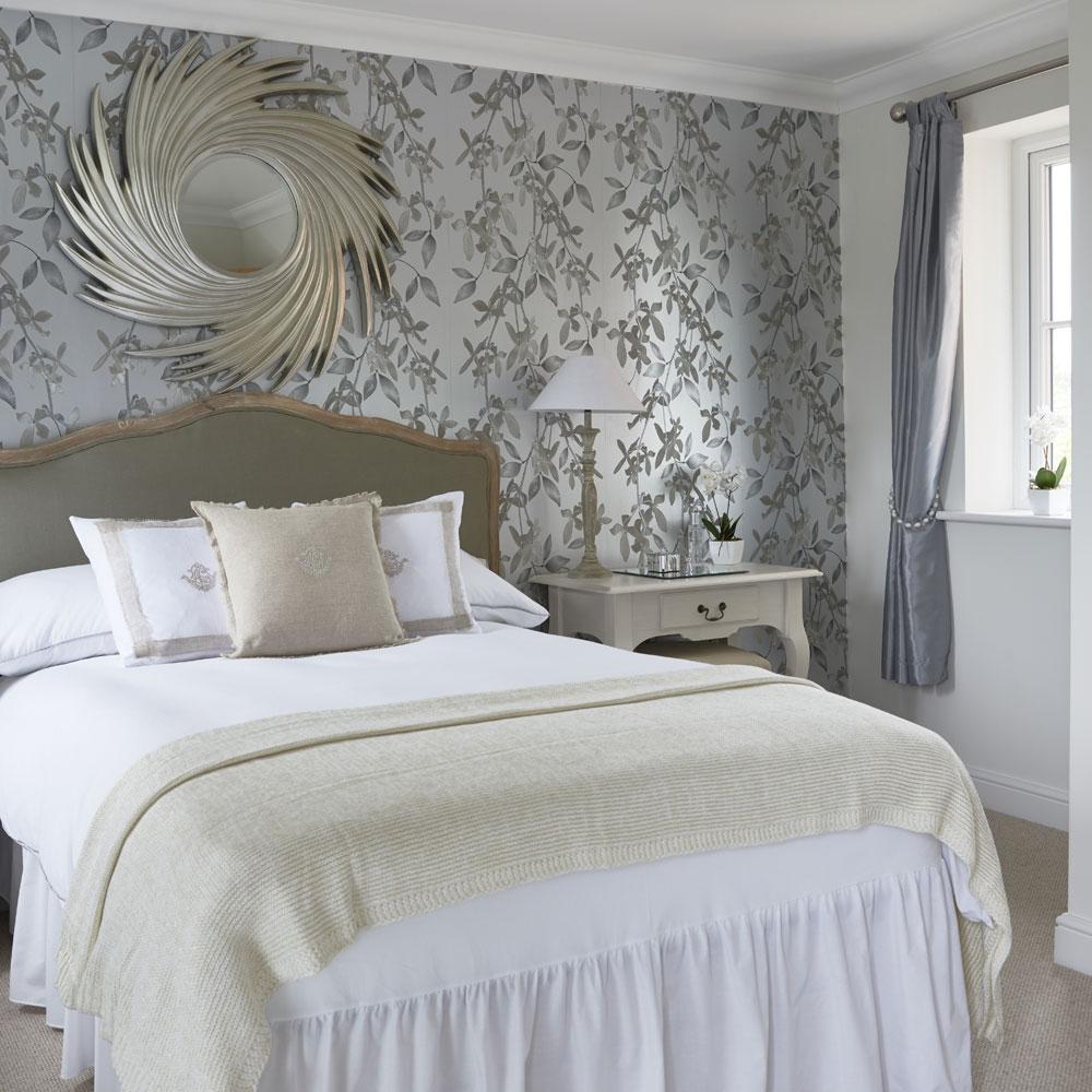 Grey bedroom ideas starburst mirror
