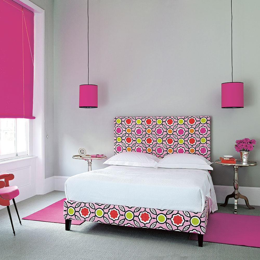 Grey bedroom ideas hot pink accents spotty pink bed