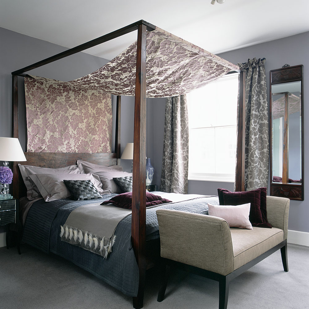 Grey bedroom ideas canopy bed floral fabric